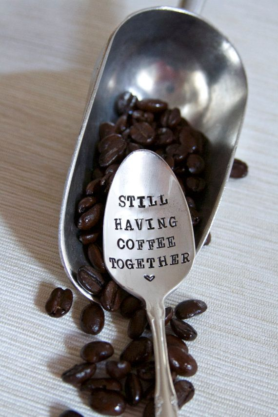 Still Having Coffee Together - Hand Stamped - Vintage Friendship Gift - Going Away Gift - gift for friends who are moving away on Etsy, $22.69 CAD