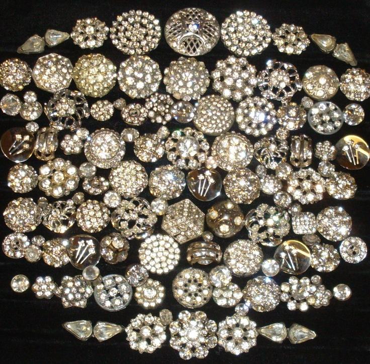 Beautiful Lot 114 Vintage Antique Rhinestone Metal Buttons   eBay