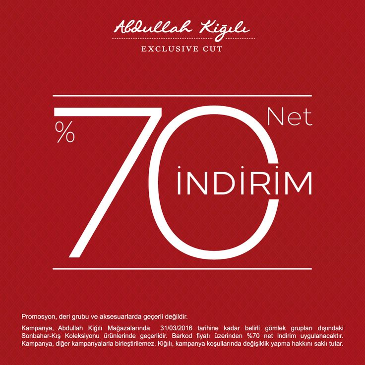 #ANKAmall Abdullah Kiğılı'da net % 70 indirim sizleri bekliyor!