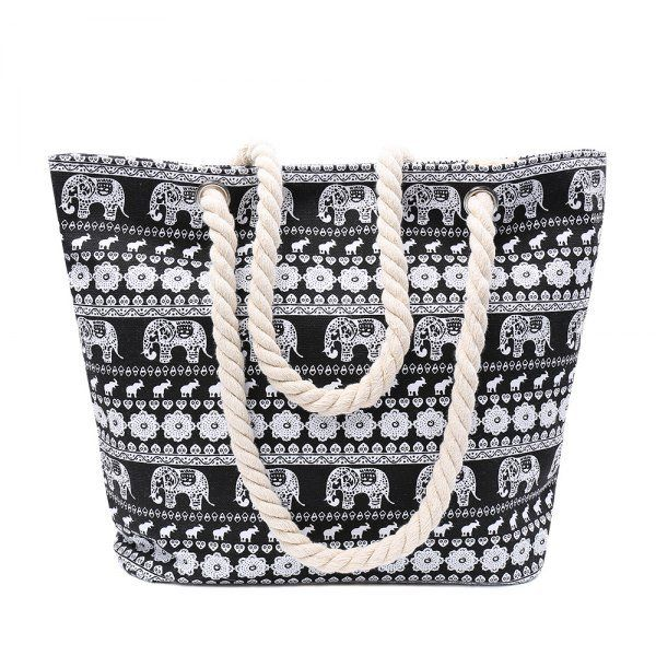 Ethnic Style Elephant Print and Black Design Shoulder Bag For Women