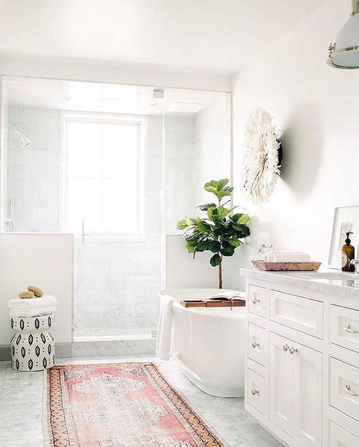 "622 Likes, 13 Comments - Nate Berkus (@nateberkus) on Instagram: ""How perfect does the Stoneware Stool look in the corner of this bathroom? (: @laurenpressey).…"""