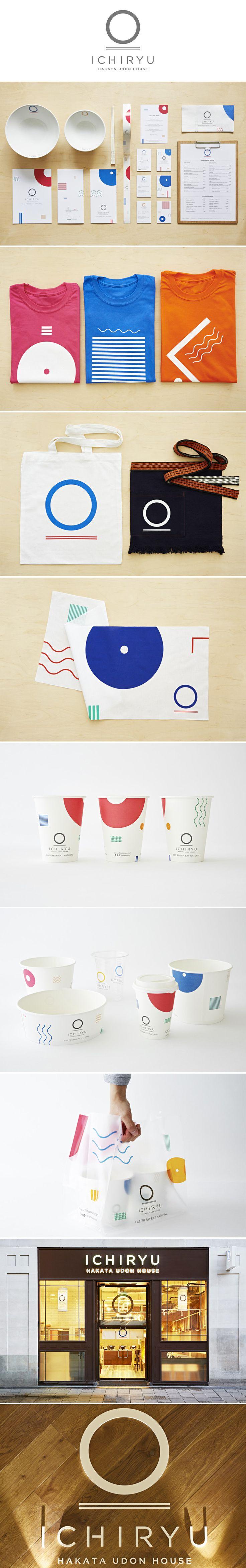 ichiryu udon #branding #logo #design #menu #uniform#tenugui #card #takeaway #cup #packaging #bag #interior#signage