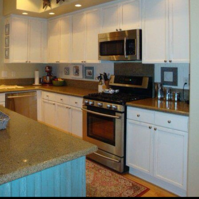 Painting Over White Kitchen Cabinets: Kitchen Makeover Inspiration.. Island Painted Turquoise
