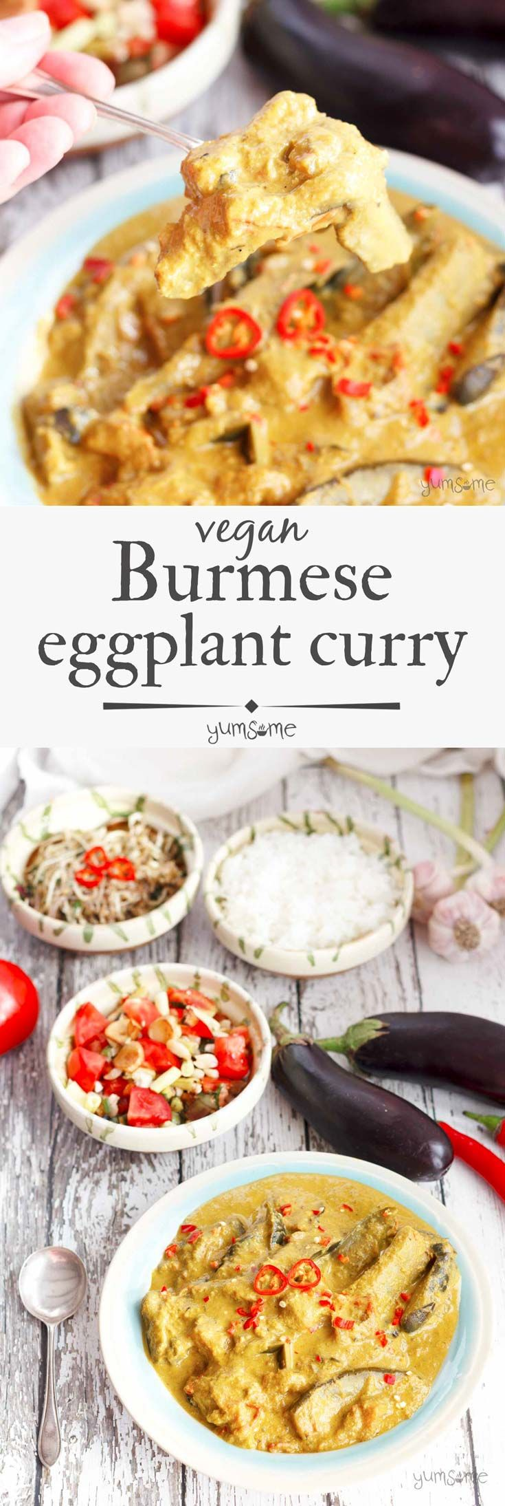 This mild vegan Burmese eggplant curry recipe, with its deliciously silky eggplant in a creamy, piquant gravy, is a perfect blend of sweet, sour, and spicy flavours. | yumsome.com via @yums0me