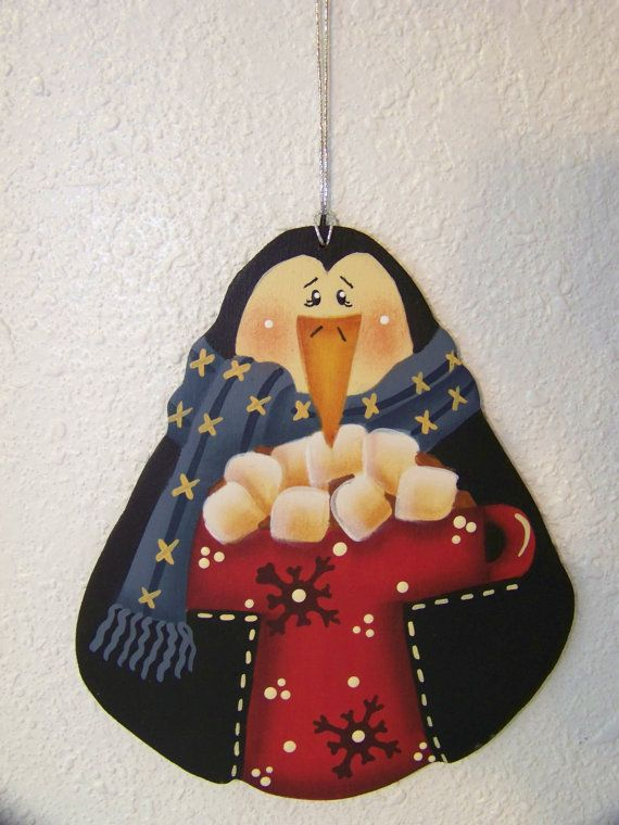 Let's Have Cocoa Penguin Wood Christmas by Bronsonscraftsnsuch, $5.00