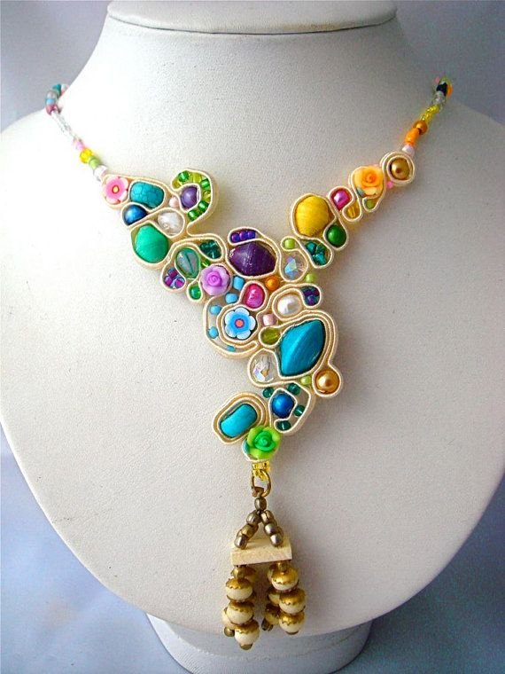 Sugar candy soutache necklace, lots of sweet and delicious beads.. $86.00, via Etsy.