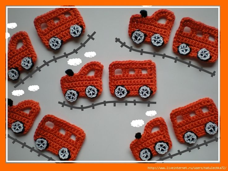 These would be cute strung together as a scarf or garland. train and various other vehicle appliques