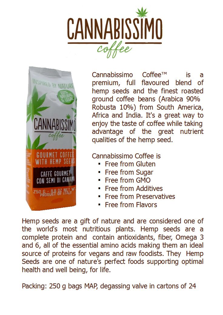 Cannabissimo Coffee. Ground coffee with hemp seeds. Made in Italy. www.fitnesscoffee.com