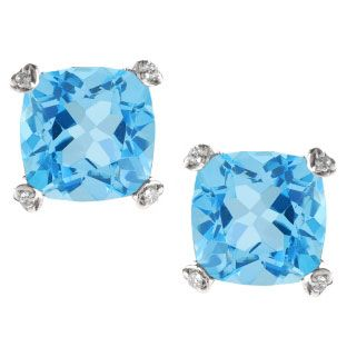 Cushion Cut Blue Topaz Diamond Silver Simple Earrings Gemstone Jewelry Available Exclusively at Gemologica.com