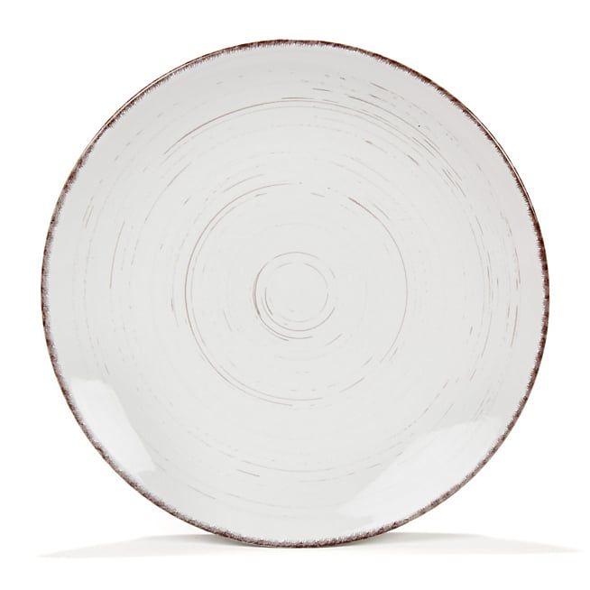 Ground Assiette plate en grès blanc effet patiné D27.2cm