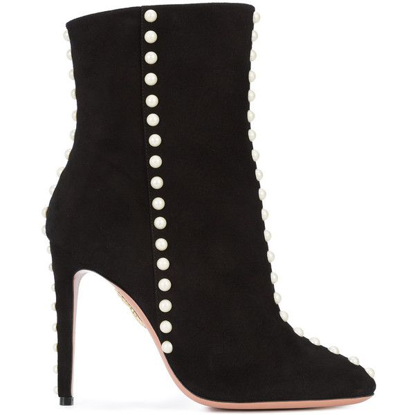 Aquazzura Follie Pearl Boots (54,225 DOP) ❤ liked on Polyvore featuring shoes, boots, ankle booties, black, high ankle booties, almond toe booties, black side zip boots, almond toe boots and aquazzura boots