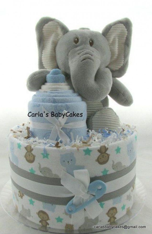 Elephant Diaper Cake Boy Diaper Cake Baby By Mscarlasbabycakes