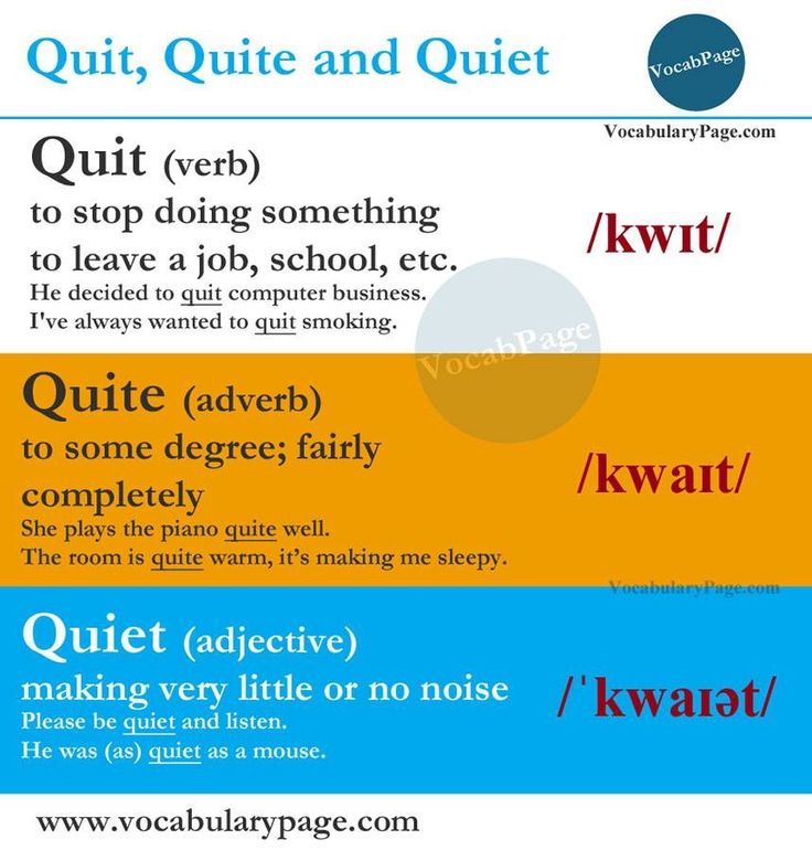 Commonly confused words: Quit, Quite and Quiet