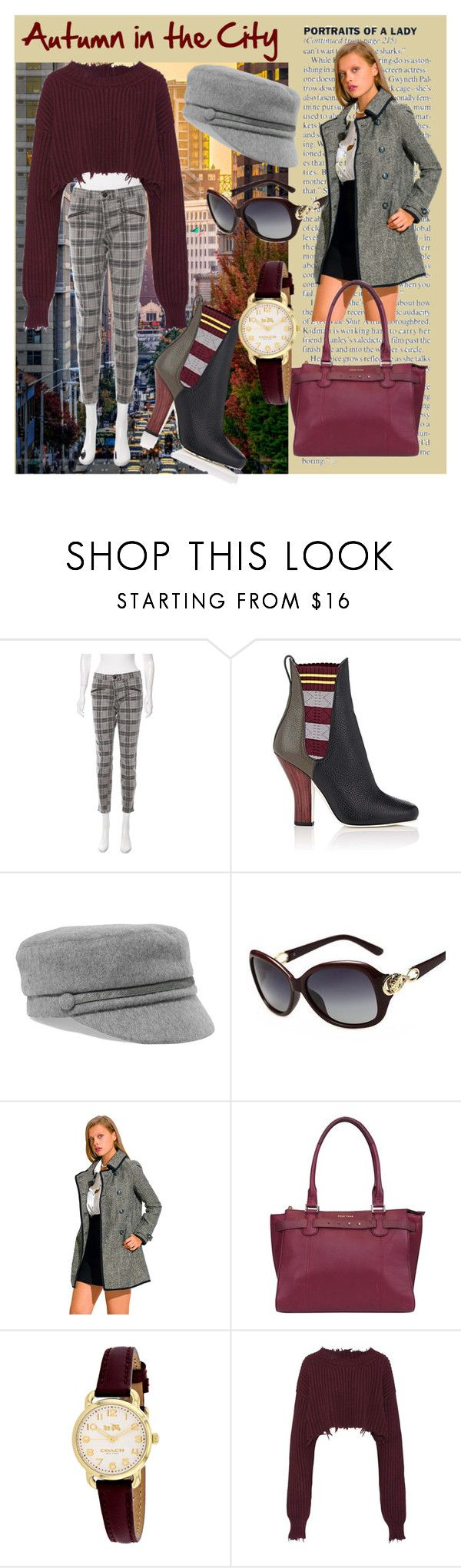 """""""Autumn in the City"""" by laura-winters-1 on Polyvore featuring Current/Elliott, Fendi, Eugenia Kim, Cole Haan, Coach and Unravel"""
