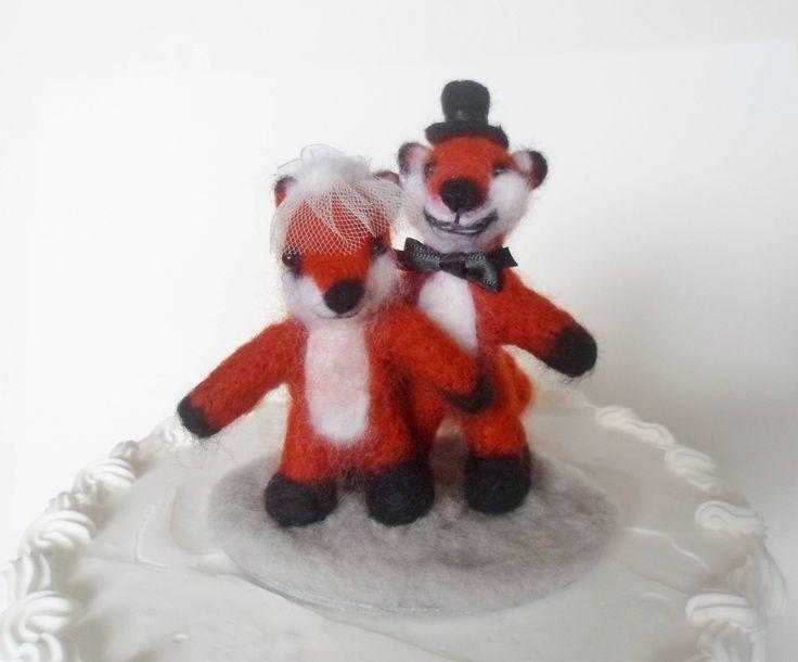 Red Fox Wedding Cake Topper Needle Felted by LaTatineFelt on Etsy