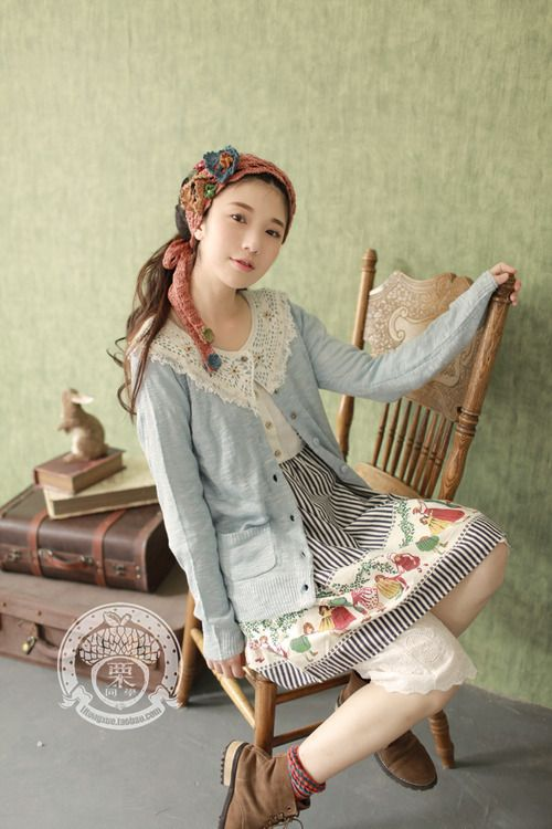 Cute and more colorful Mori girl fashion