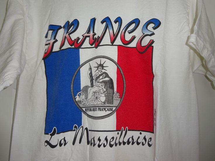 Vintage T-Shirt FRANCE Tricolour Flag LA MARSEILLAISE Bastille Day Shirt L #Generic