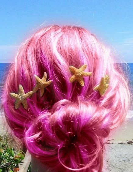 Beautiful pink beach hair