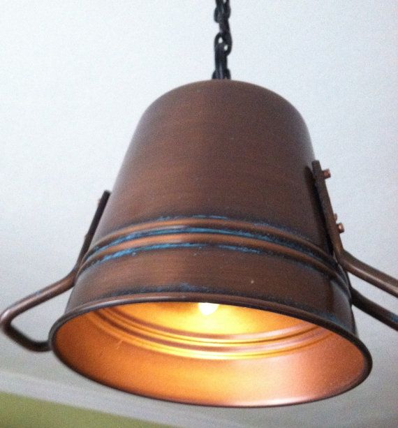 Just Reduced Rustic Handmade 3 Bulb Hanging Light Fixture Or: Rustic Copper Pail Pendant Light