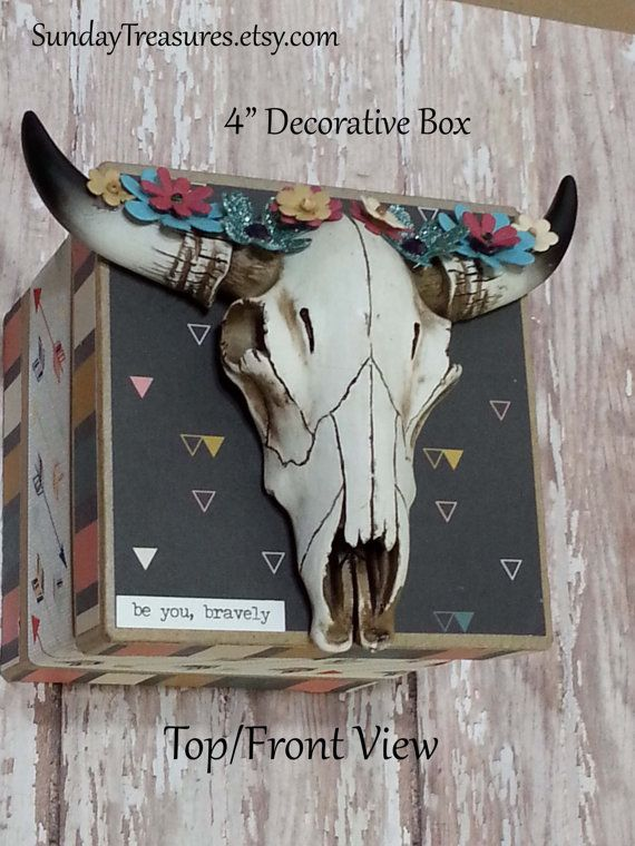 Decorative Box Bohemian Mini Cow Skull with Florals / Jewelry Trinket Storage Box /Turquoise Coral Mustard Rose Black / Faux Taxidermy