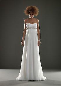 abito da sposa linea impero in chiffon misto seta.