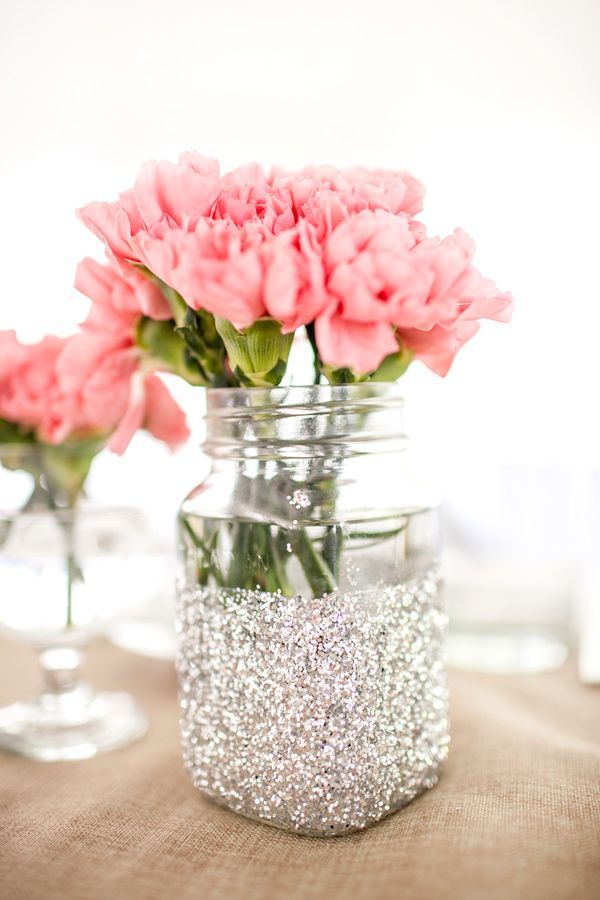 Glittered centerpiece ... Burlap and mason jars ... Wedding reception flowers and floral arrangements ... FOR @Daniela Maselli Hauri Woolsey