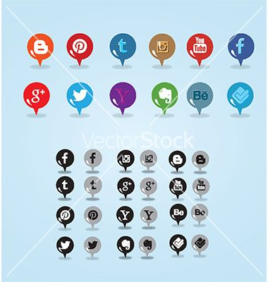 Colorful and inverted pin social media icon vector 3138900 - by Fatichah on VectorStock®