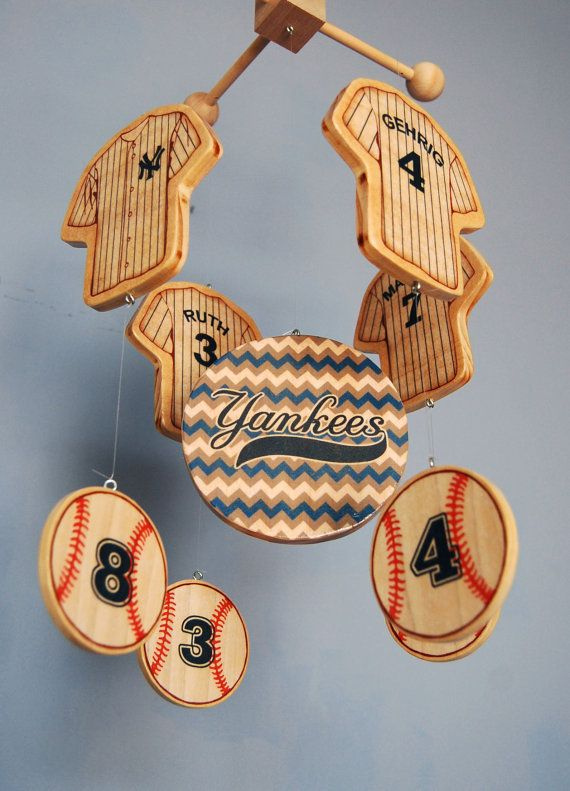 New York Yankees baby mobile for a baseball themed nursery. Handcrafted by FlyingTrees on Etsy.