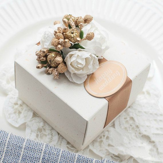 Wedding Candy Box with Golden Flowers and Beige by sweetywedding, $1.99