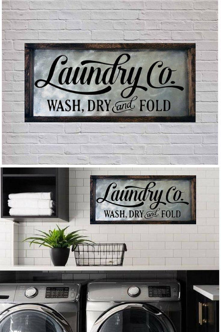 Laundry Room Sign Laundry Sign Laundry Room Decor Laundry Co Wash Dry Fold Sign Farmhouse Decor F With Images Laundry Room Signs Room Signs Farmhouse Decor