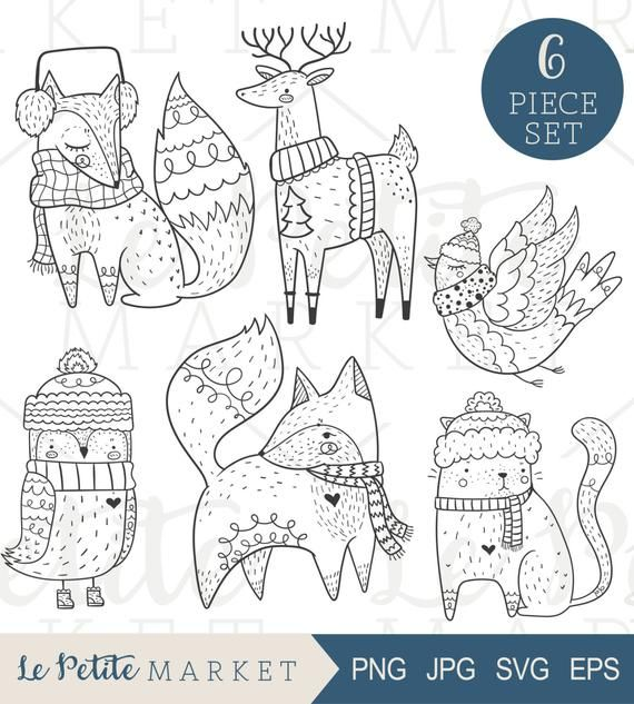 Cute Hand Drawn Holiday Clip Art, Cute Woodland Creatures Bundled Up for Winter, Holiday Digital Stamps, Woodland Animal Illustration Set