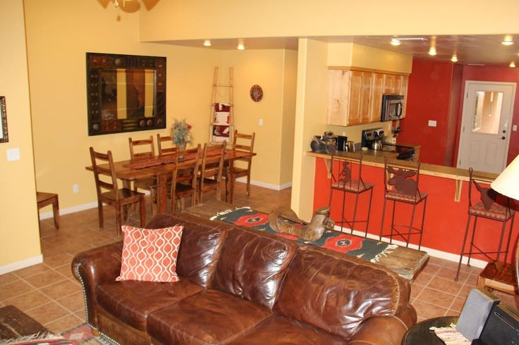 $265 per night - Entire home/apt in Moab, US. Our home is filled with special Southwestern touches. You will love the fenced in yard, 2 car garage, and open living area.  The community pool and hot tub are a short walk away!  Come relax in this clean and comfy home after a long day of explori...