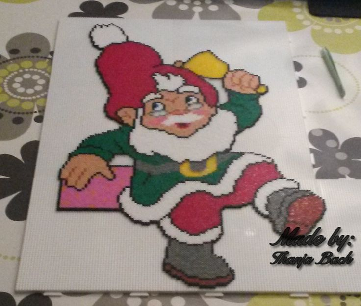 A Gnome (Nisse) I've made without a pattern. Hama mini beads