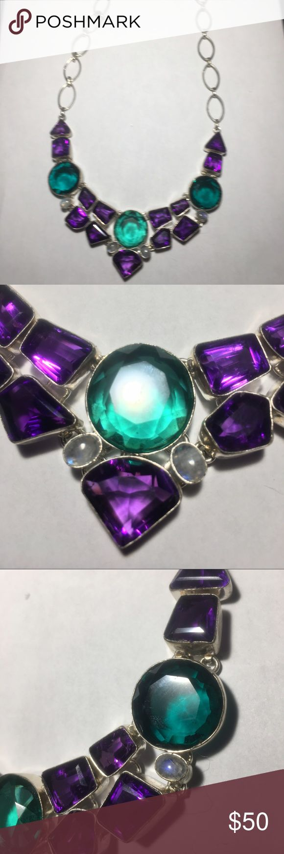 """Gorgeous necklace Purple and green stones.  Measures 21"""" long.  Gorgeous with a crisp white blouse. Jewelry Necklaces"""