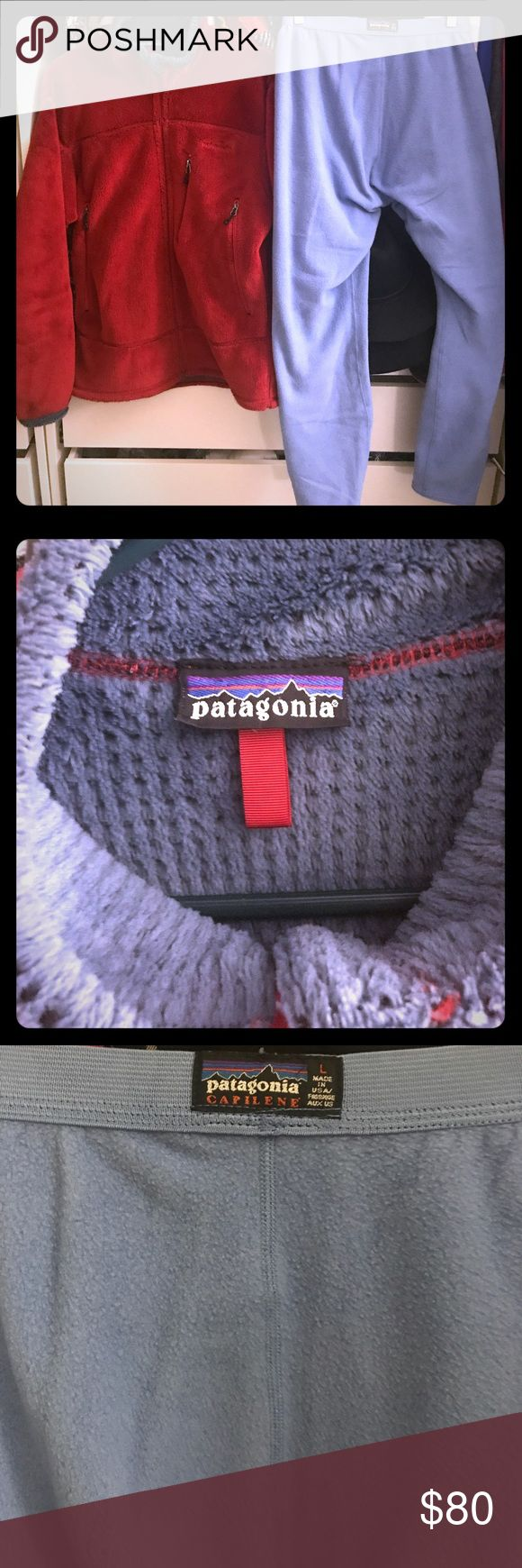 Patagonia fleece package. Great condition. Patagonia red fleece zip up jacket (size medium) and light blue fleece pants (size large). Excellent condition. Perfect outfit for the winter. Will sell separately. Patagonia Jackets & Coats Ski & Snowboard