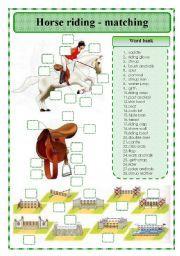 English teaching worksheets: Horse riding