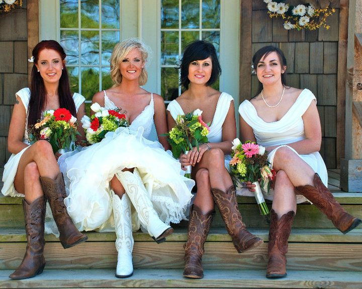 Country wedding dress and bridesmaids dresses with cowboy boots