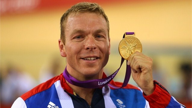 Gold medallist Sir Chris Hoy of Great Britain celebrates during the Victory Cermony for the Men's Keirin Track Cycling Final on Day 11.