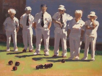 "Daily Paintworks - ""STATE of PLAY - Lawn Bowls"" - Original Fine Art for Sale - © Helen Cooper"
