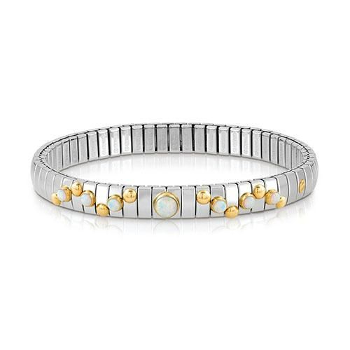 Nomination stainless steel and white opal stretchable bracelet with 18ct gold detail and semi precious stones, a distinctive and fashionable look.