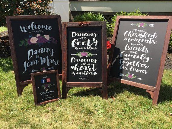 DEPOSIT FOR **** Personalized Framed Coordinated Wedding Chalkboard Sign Set