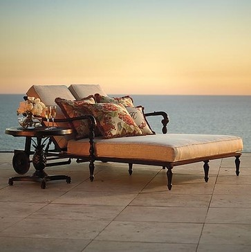 British Colonial Double Outdoor Chaise Lounge Cushions - Frontgate, Patio Furnit traditional outdoor chaise lounges