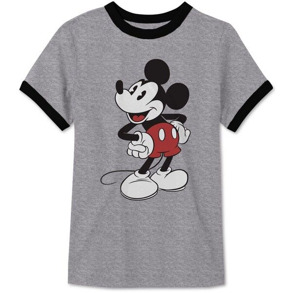 Jem Men's Mickey Mouse Print T-Shirt (2.835 HUF) via Polyvore featuring men's fashion, men's clothing, men's shirts, men's t-shirts, heather grey, mens patterned shirts, mens t shirts, mens mickey mouse shirt, mens patterned t shirts and mens print shirts