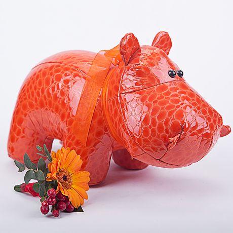 Фото: Игрушки из меха и кожи - Бегемот из лаковой кожи (оранжевый)