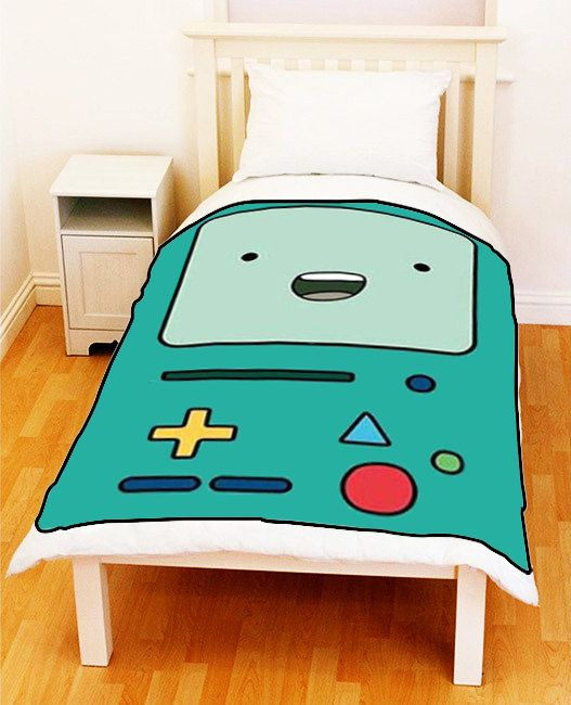 BMO The Adventure Time Beemo Bed Throw Fleece Blanket 50 quot  x 60 quot  Unique Gift on Etsy   32 07