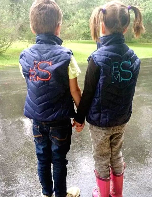 What could be sweeter? Holding hands, pigtails or the #monogram #kids vests!