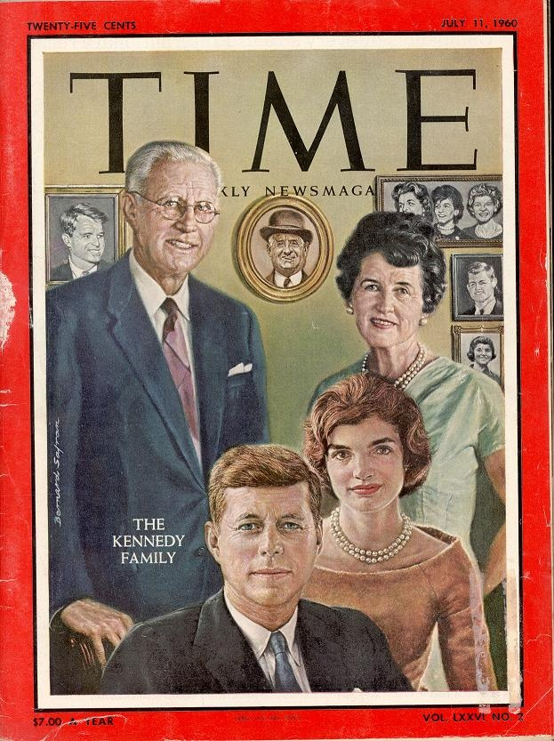 Front cover of Time magazine dated July 11, 1960 featuring The Kennedy Family. Family portrait illustration of Joe Kennedy, Rose Kennedy, Jack Kennedy, and Jackie Kennedy.