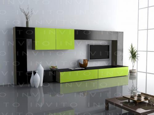 Mueble contemporáneo integrado de varias piezas con cajones y puertas para guardar consolas, películas o libros. Requiere un espacio mínimo de 4 metros, se puede adaptar a la medida del cliente.