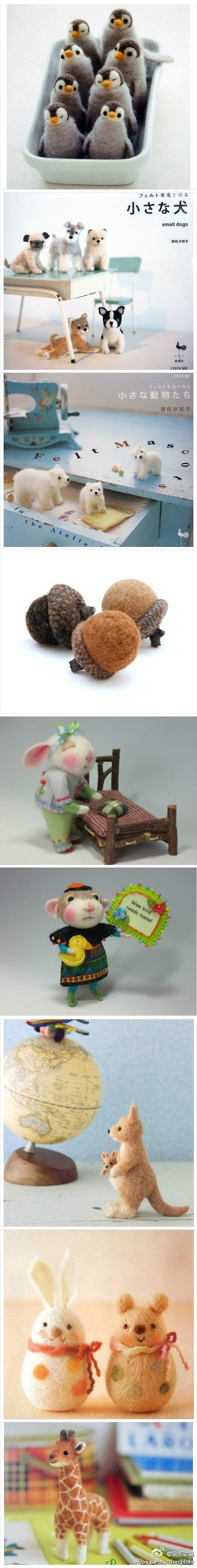 Many needle felted animals.                                                                                                                                                     More