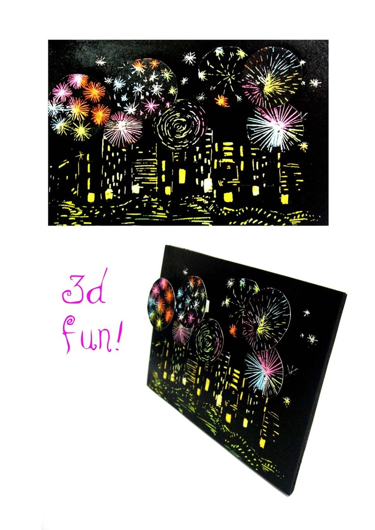 Fireworks Art! Wax crayon , black paint, scratch away paint, create extra fire works to superimpose